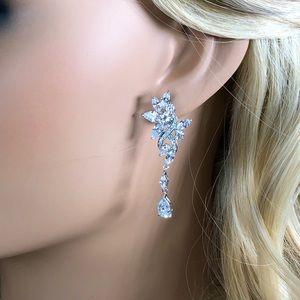 Bridal tear drop dangle diamond crystal earrings
